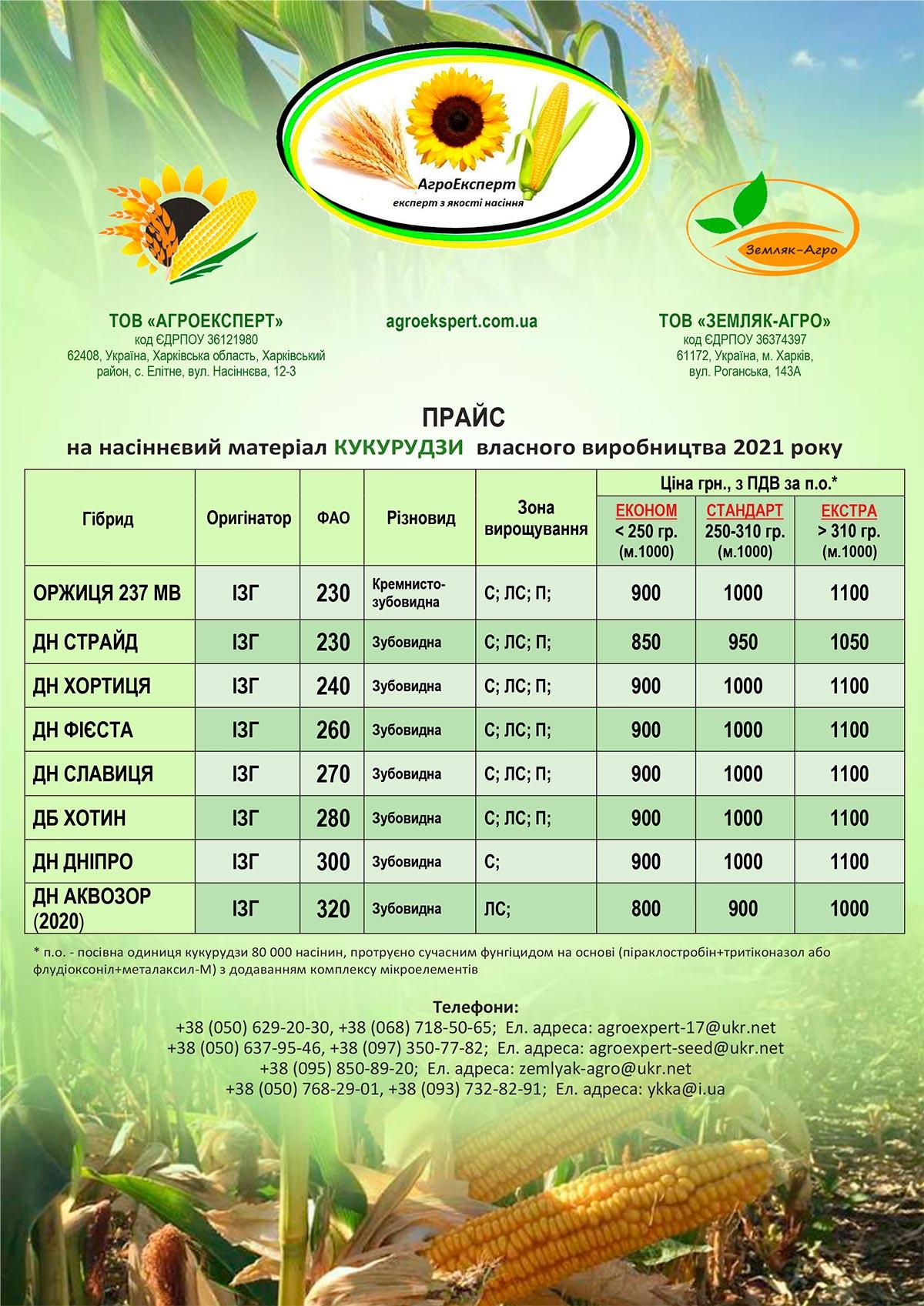 Прайс на насіннєвий матеріал кукурудзи власного виробництва 2021 року від компанії АгроЕксперт